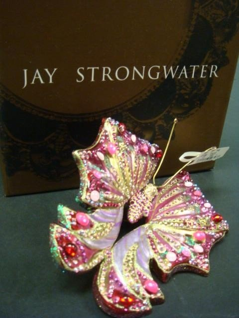 14: JAY STRONGWATER Butterfly Glass Figural Ornament: