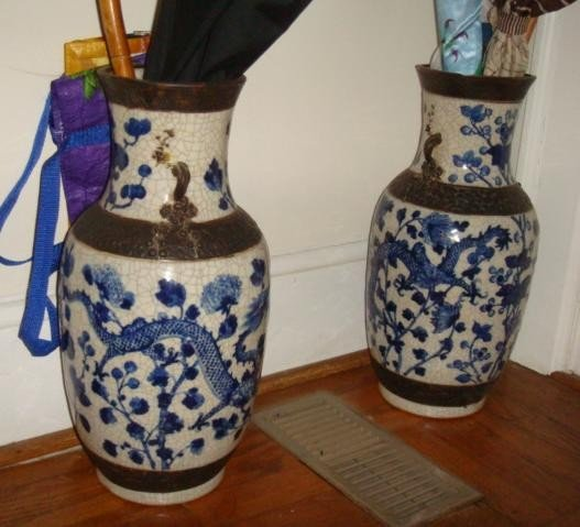 15: Pair of Chinese Blue and Gray Vases: