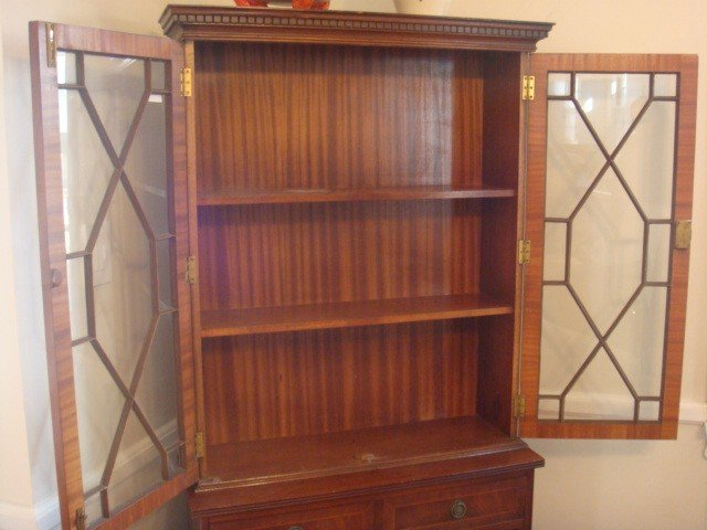 16: Two Piece Married Mahogany Bookcase with Shelves: