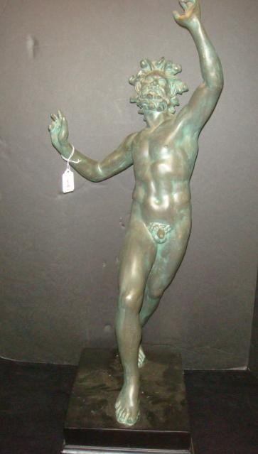 1: Molded Greek Male Nude Statue of a Satyr with Tail:
