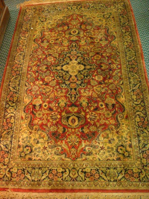 4: Two Hand Loomed Silk Rugs: