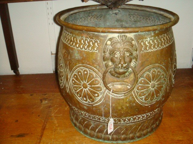 12: Brass Hand Hammered Lion Handle Planter:
