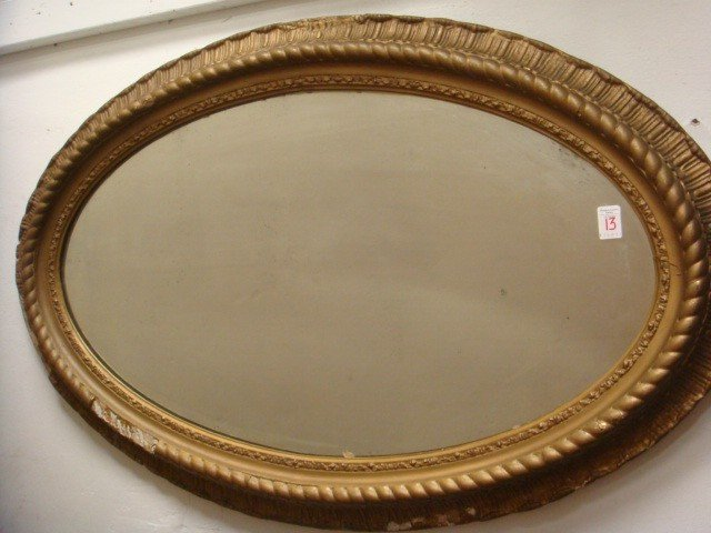13: Gold Framed Oval 1930's Mirror: