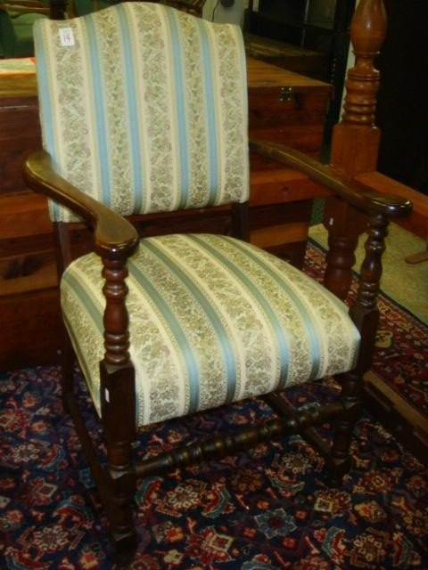 14: Brocade Upholstered Walnut Arm Chair: