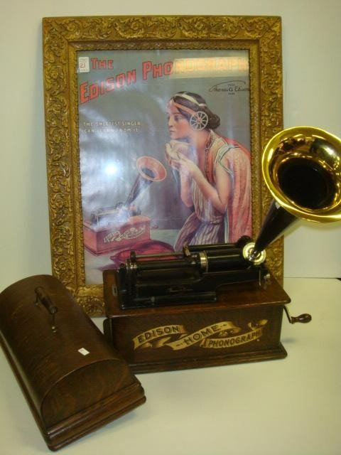 21: EDISON Home Phonograph and Advertising Poster: