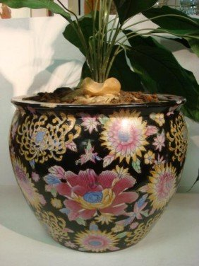 3: Oriental Ceramic Hand Painted Floral Koi Bowl: