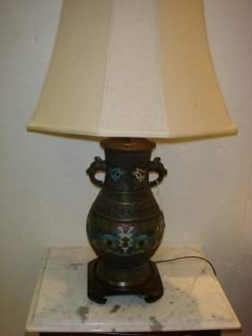 Antique Champlev� Lamp With Serpent Handles: