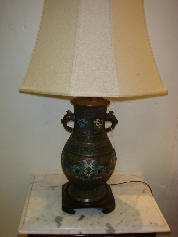 5: Antique Champlevé Lamp with Serpent Handles: