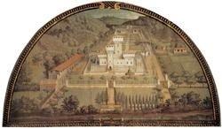 """7: Giusto Van UTENS """"Castle of Cafaggiolo"""" Lunette:"""