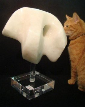 Alabaster Abstract Sculpture On Acrylic Stand: