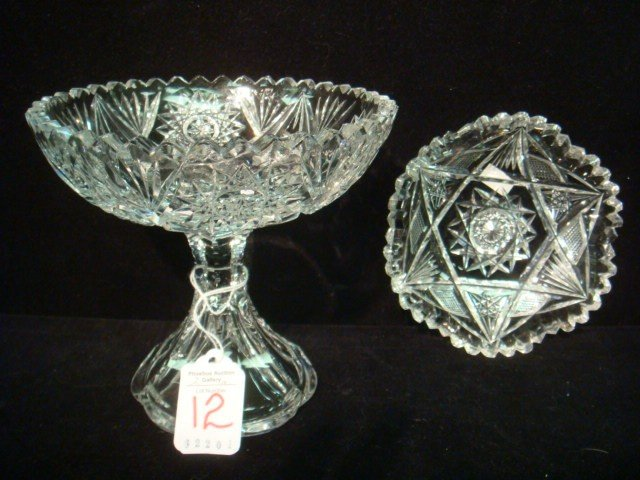 12: Cut Clear Crystal Compote and Bowl: