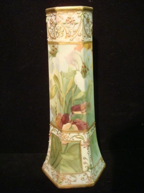 13: Handpainted Nippon Paneled Vase:
