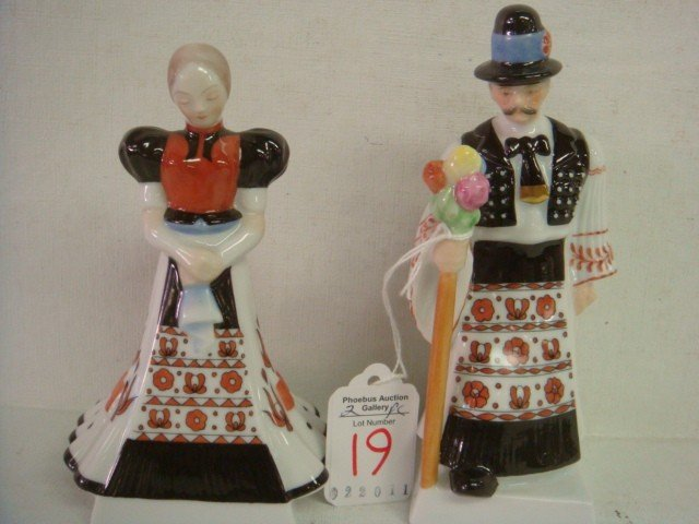 19: HEREND Hungarian Man and Woman Figurines:
