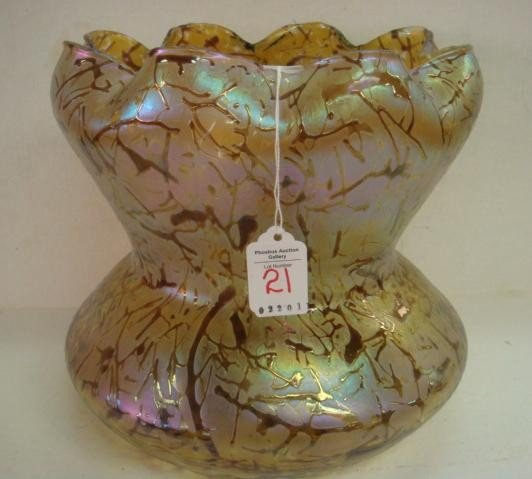21: Large Gold Iridescent Art Glass Waisted Vase: