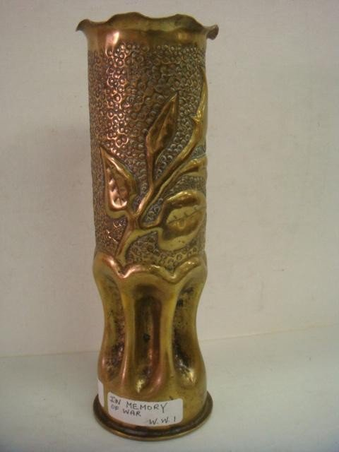 23: 1918 Brass Trench Art WWI Vase: