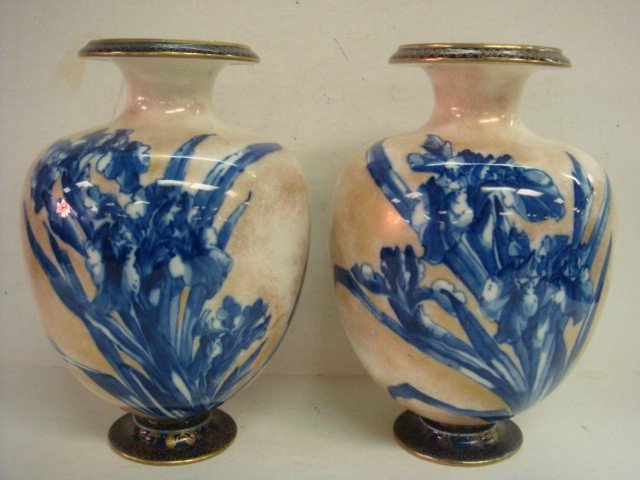 24: Pair of DOULTON BURSLEM Flow Blue Vases: