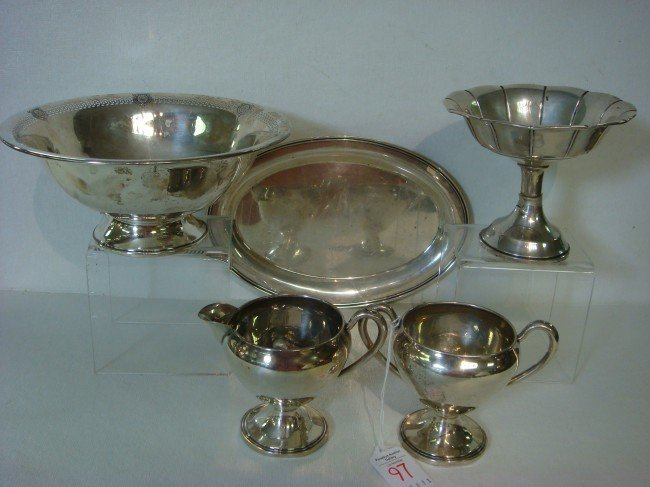 97: Five Piece Sterling Hollowware: