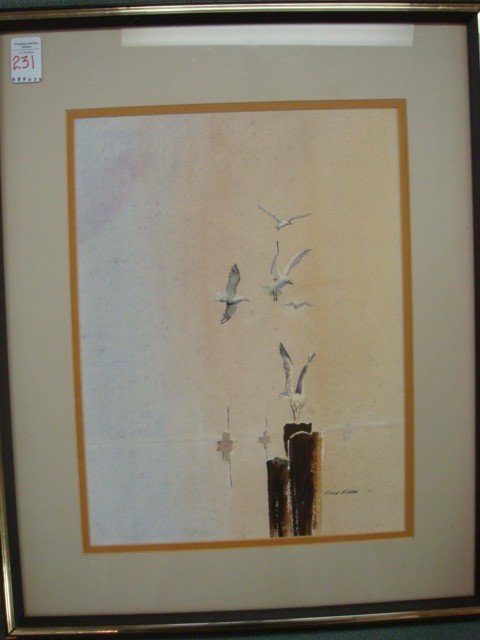 231: Signed FRED GIBSON Seagull Watercolor: