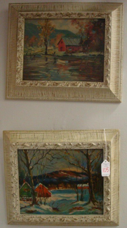 5: Two Signed S ROSE Landscapes Oil on Canvas Board: