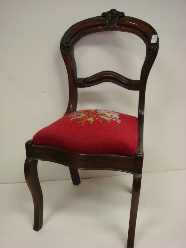 6: Balloon Back Victorian Walnut Upholstered Side Chair