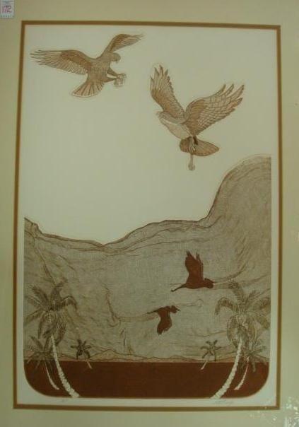 9: Signed and Numbered BURRIDGE Intaglio Bird Print: