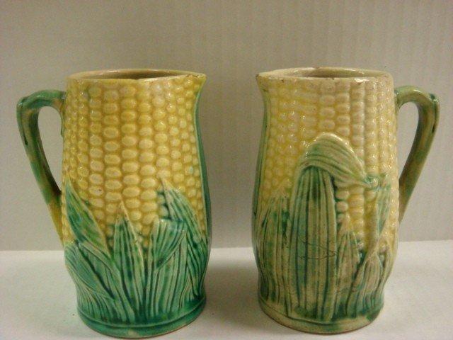 13: Pair of Majolica Corn Cob Pitchers: