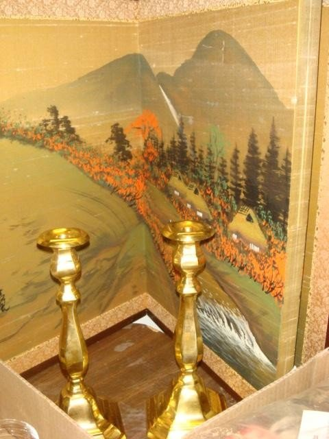 16: Scenic Oriental Folding Screen and Brass Candlestic