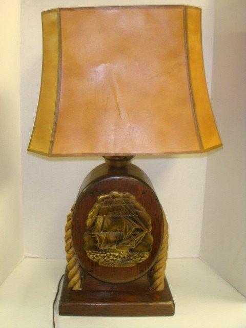 17: Sailing Ship Motif Electric Table Lamp: