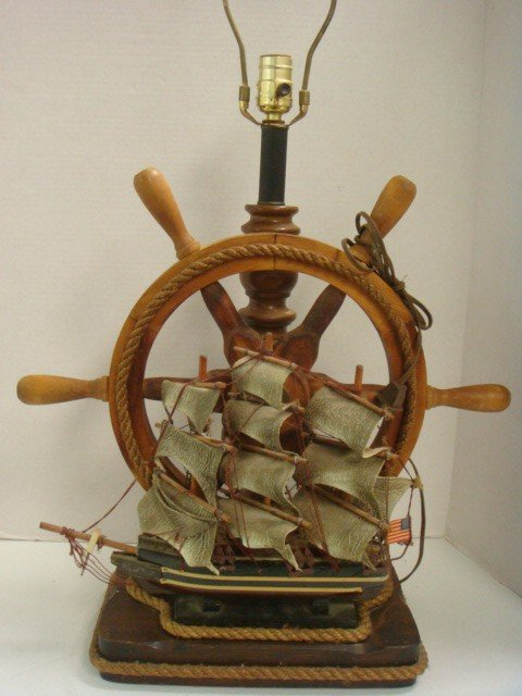 17A: Ship Motif Electric Table Lamp and Night Light: