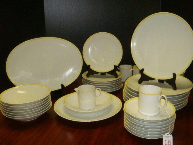 18: THOMAS German Yellow Rimmed Dinnerware for 7+:
