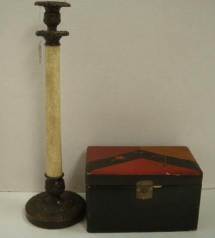 19: Metal/Composition Candlestick, Lacquered Tea Box: