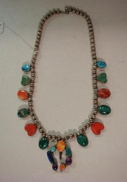 23: Sterling & Gemstone Colorful Squash Blossom Necklac