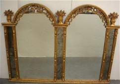 162 Ornate Gilt Double Arched Frame Wall Mirror
