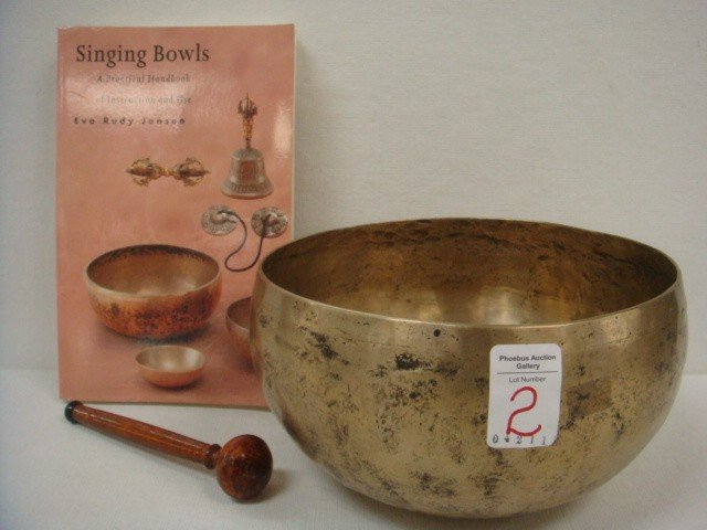 2: Brass Singing Bowl with Beater and Book: