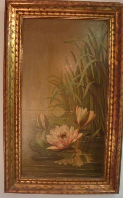 5: Vintage Oil on Tin, Water Lilies: