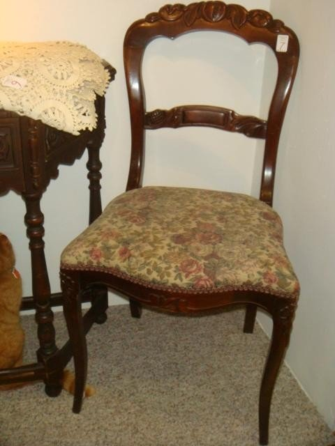 7: Open Back Fruit Carved Victorian Side Chair: