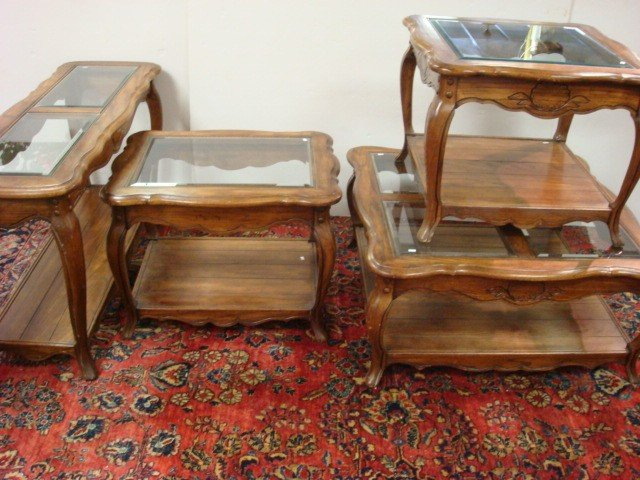 15: Four Oak Finish Glass Top Living Room Tables: