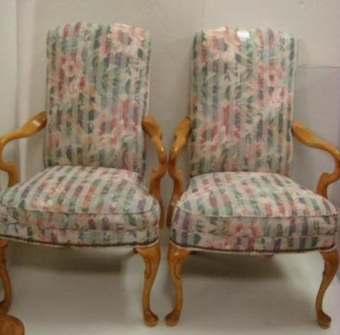 16: Pair of Pastel Floral Oak Frame Chairs: