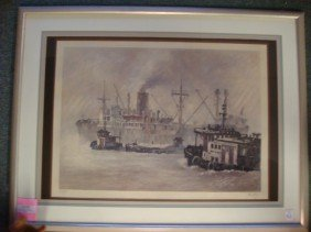 "JOHN KELLY, ""The Harbor"" Lithograph:"
