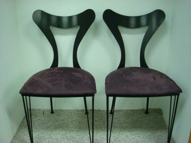 54: Pair of Contemporary Wrought Iron Upholstered Chair