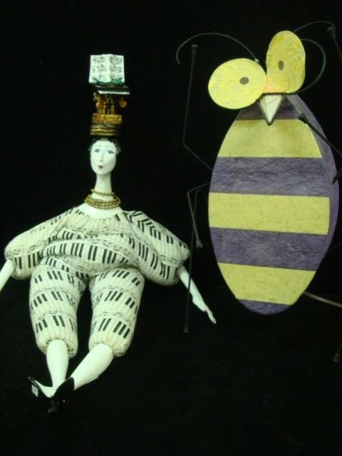 55: Wire Frame Bee Lamp and ISABELLE Bean Bag Doll: