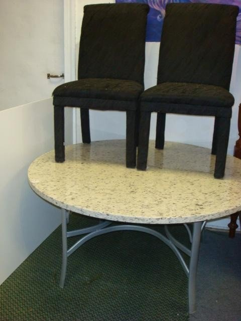 58: Marble Top Table and 2 Chairs: