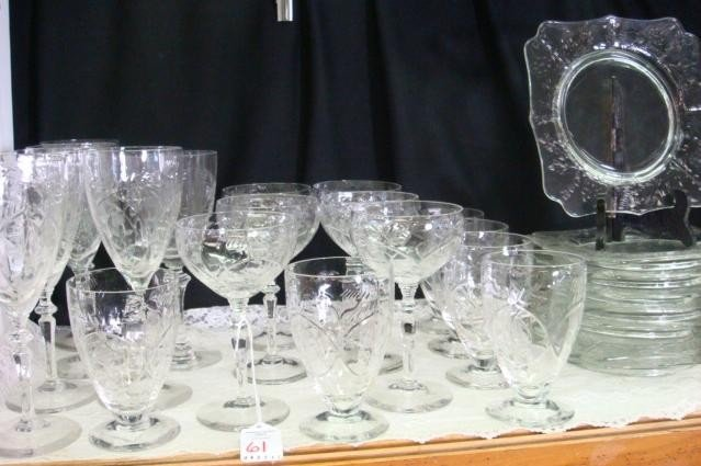 61: Cut and Polished Crystal Stems, Plates, 26 Pieces: