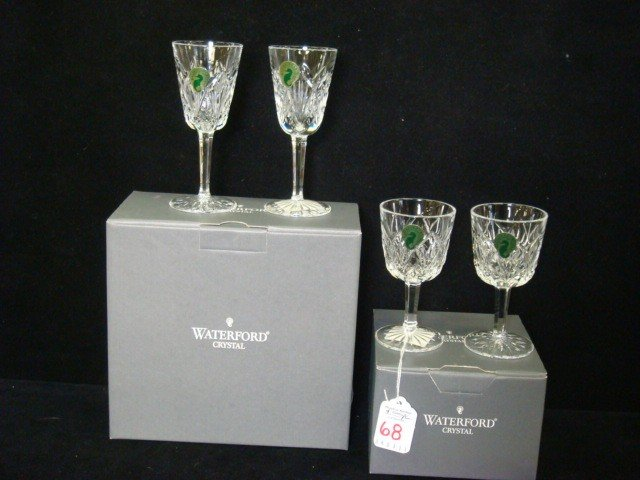 68: Two Pair WATERFORD Waterville Sherry and Port Stems