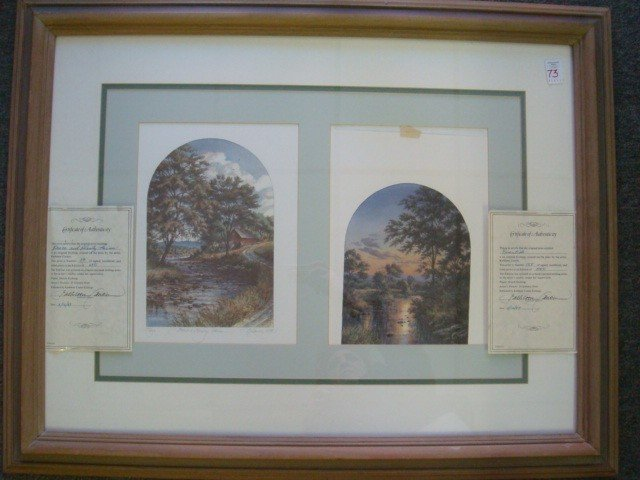 73: KATHLEEN CANTIN Pencil Signed Double Framed Print: