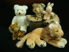 163: Five Vintage Plush and Mohair Stuffed Animals: