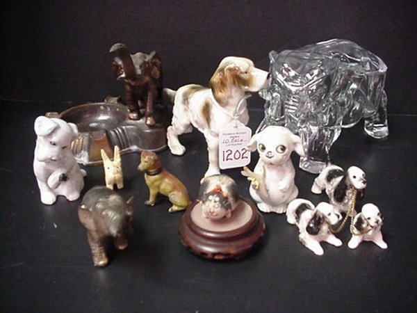 1202: Ceramic, Metal and Glass Dogs, Elephant