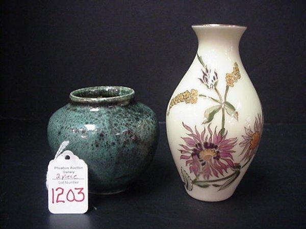 1203: Zsolnay Handpainted Vase and Kugl Vase: