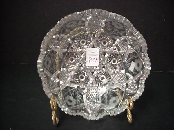 1205: Cut Crystal Bowl with Scalloped Rim: Cu