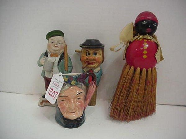 1207: Black Mammy Whisk Broom, Figural Cork,